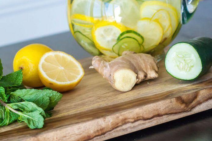 Ginger mint detox water