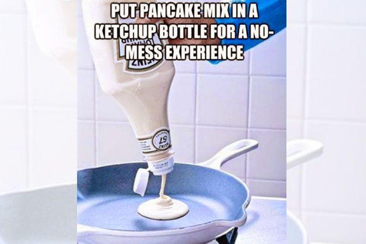 Pancake in a ketchup bottle