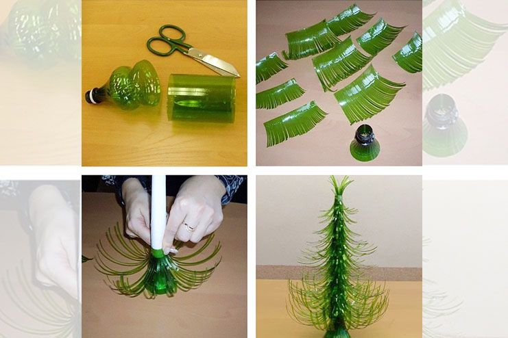 Christmas tree from used plastic bottle