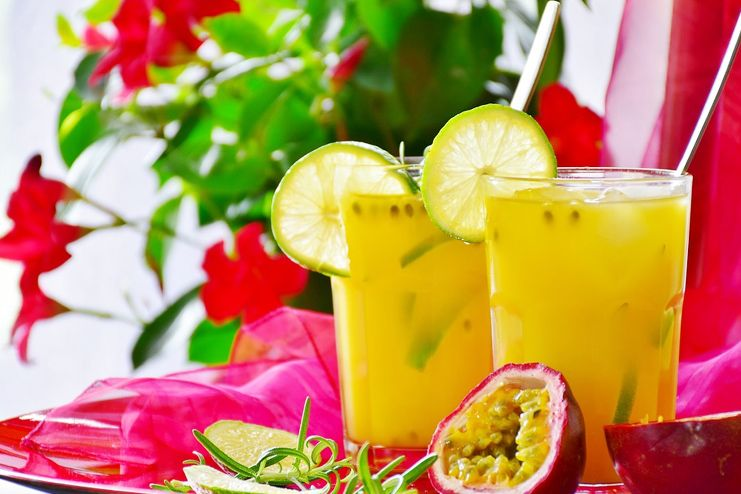 Different fruit juices and shakes for hangover