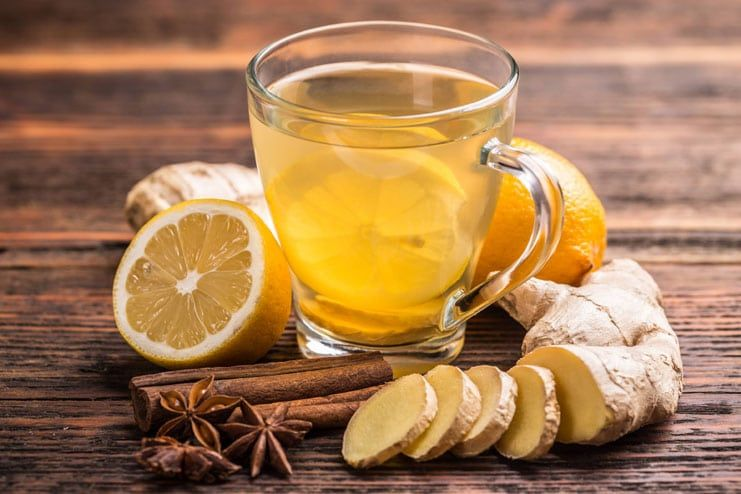 Ginger tea with cinnamon, lemon and honey