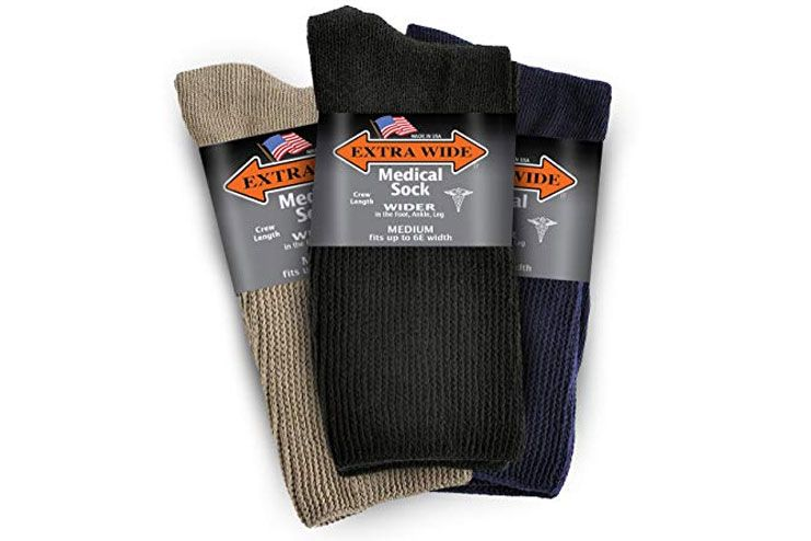 Extra-Wide Medical Crew Mid-Calf Socks for Men