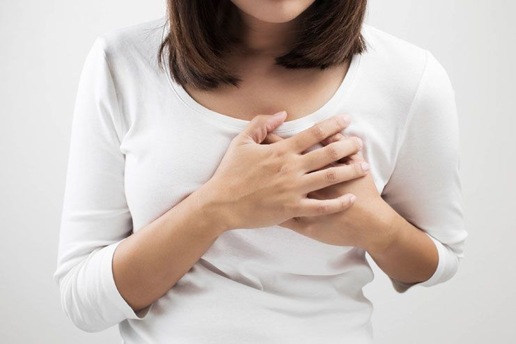 Pain or tenderness around the breast and the chest region