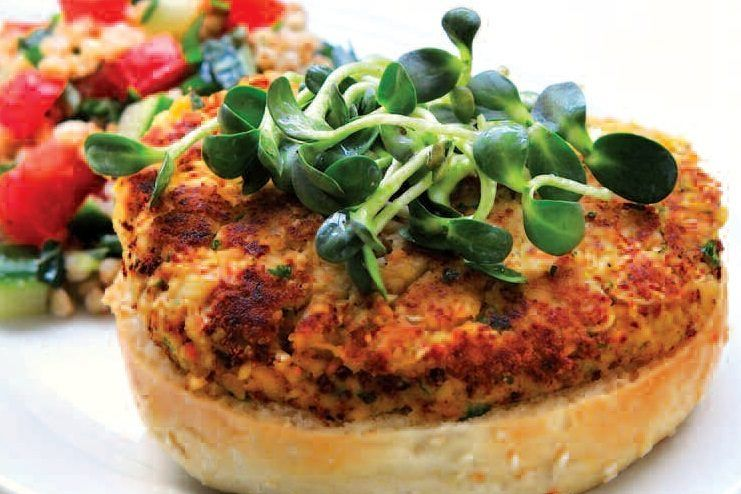 Chickpea Patty Burger and Green Salad