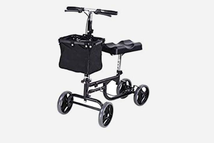 AW Adjustable Knee Scooter Walker w Basket Steerable Rolling Wheel