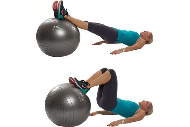 Stability Ball Hamstrings Roll-In A Fun Squat Alternative for Bad Knees