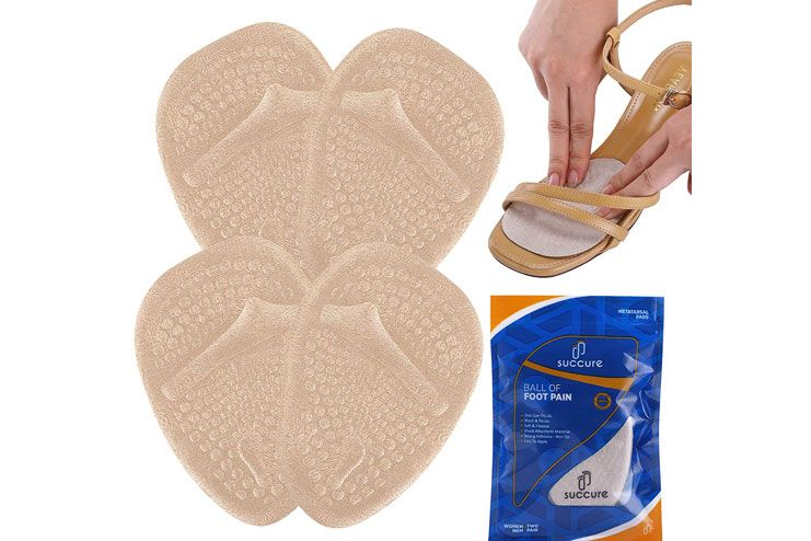 Succure Metatarsal Pads 2 Pair Soft Gel Forefoot Heel Cushion Inserts for Women