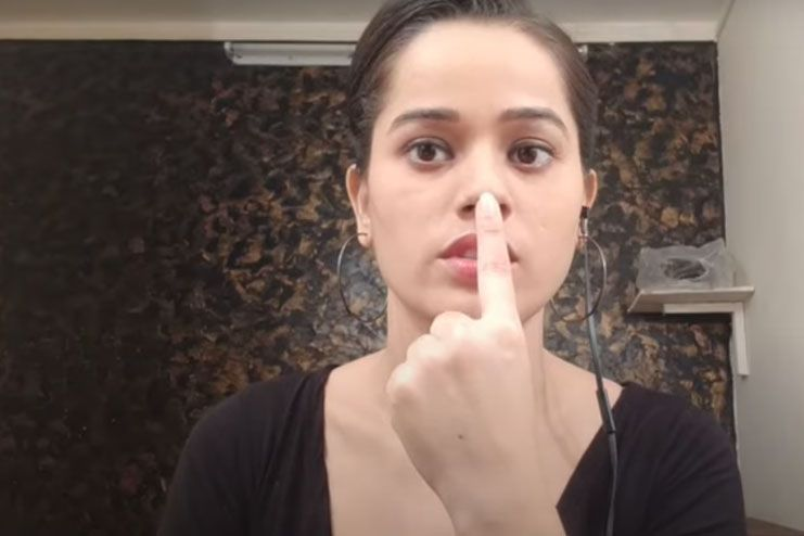 Exercise with index finger for sharp nose