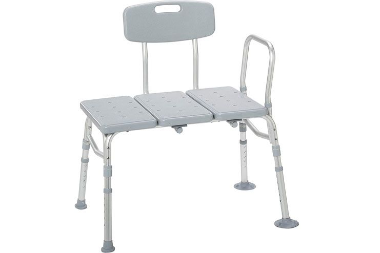 Drive Medical 12011KD-1 Plastic Tub Transfer Bench with Adjustable Backrest Gray
