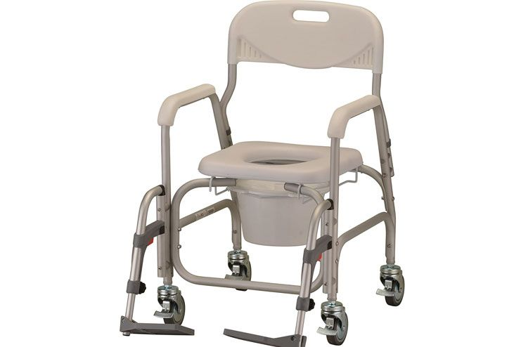 NOVA Medical Products Rolling Shower Commode Chair with Locking Wheels and Removable Footrests