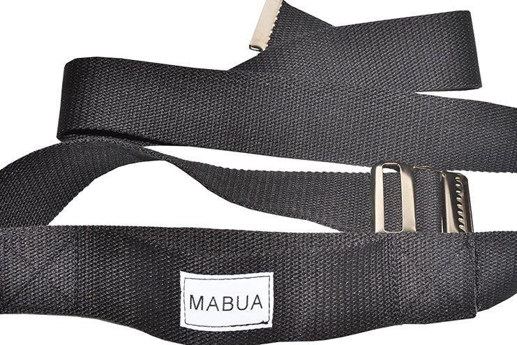 MABUA Black Transfer Gait Belt with Holding Loop and Metal Buckle